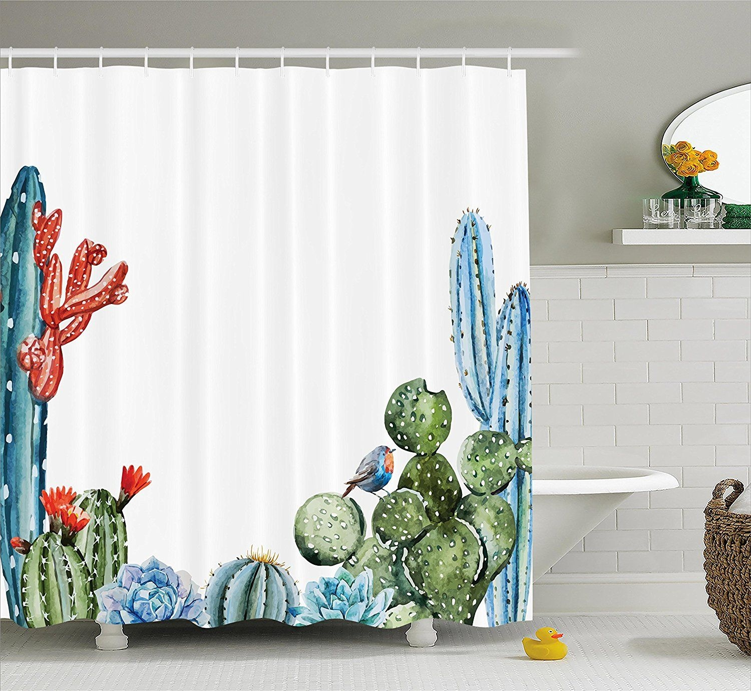 Cactus Decor Shower Curtain Cactus Spikes Flowers With Birds Cartoon Vintage Like Colored