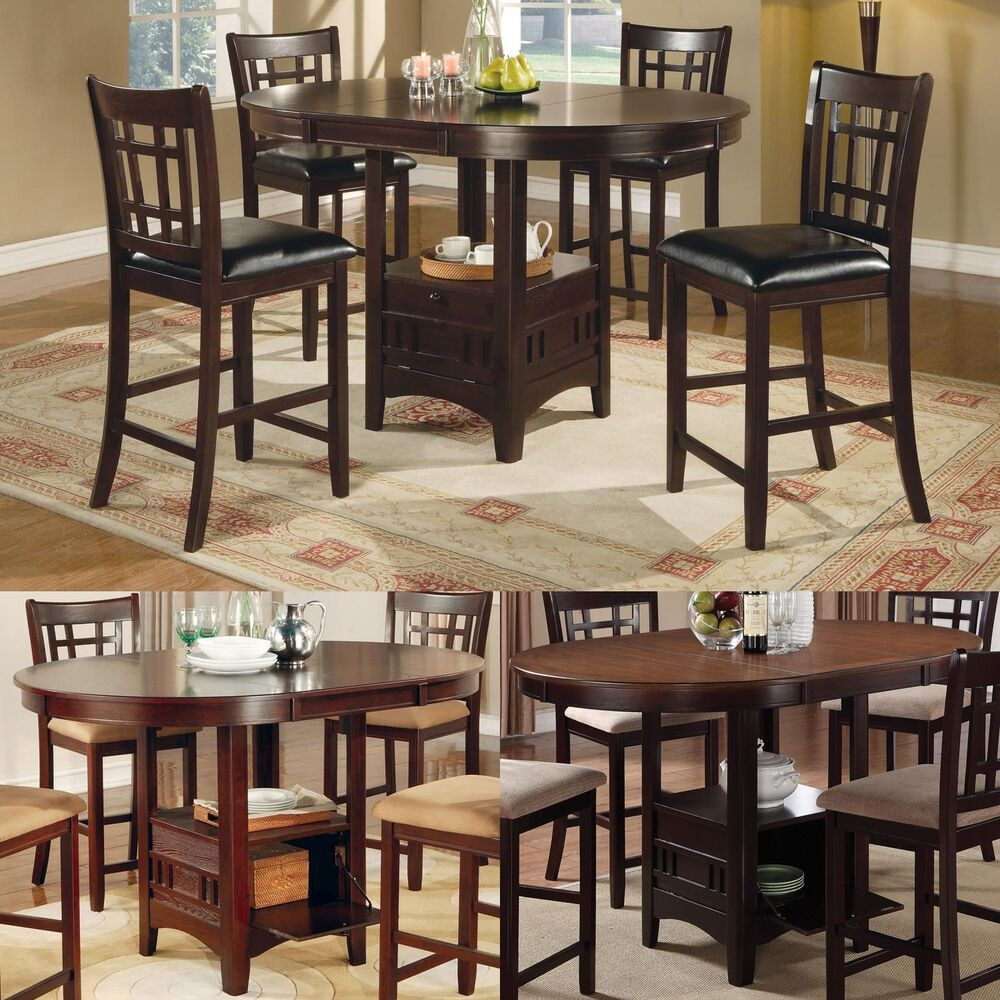 Cappuccino Dark Cherry Storage Counter Height Leaf Pub Table Dining Kitchen Set  Ebay