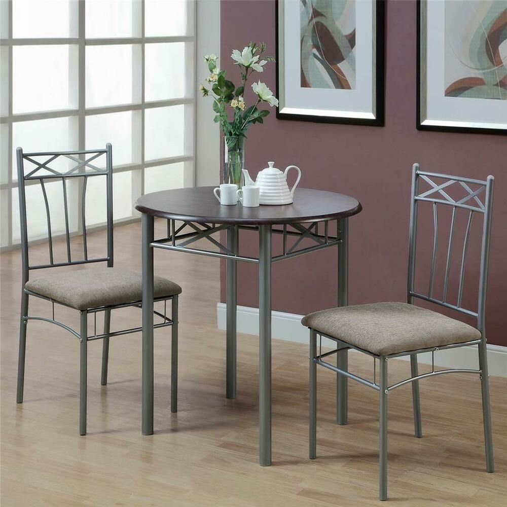 Cappuccino Finish 3 Piece Bistro Small Dining Set Kitchen Table Chairs Furniture  Ebay