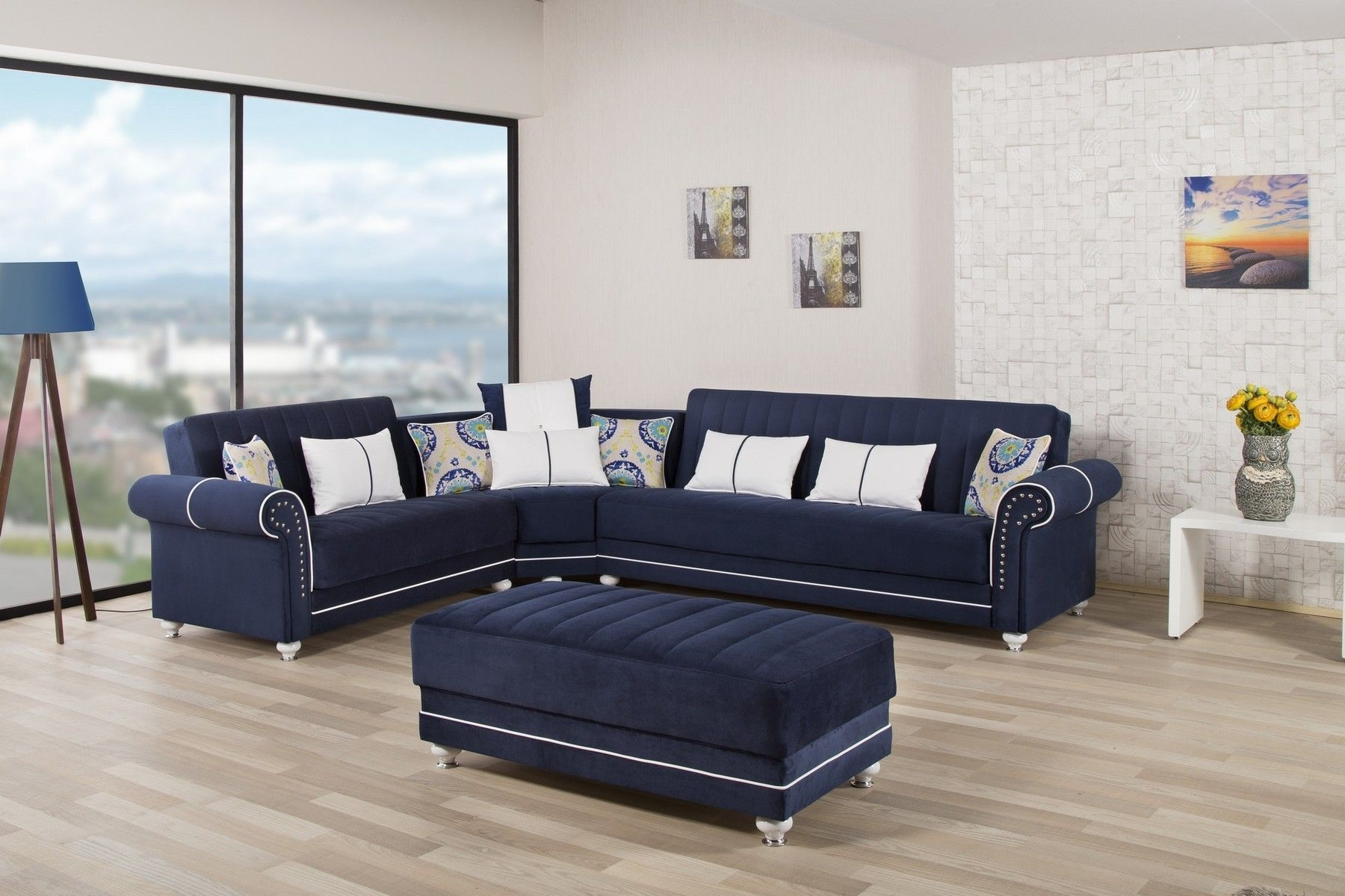 Casamode Royal Home Blue Modern Dark Sectional W Bedstorage  Sectional Sofa Living Room