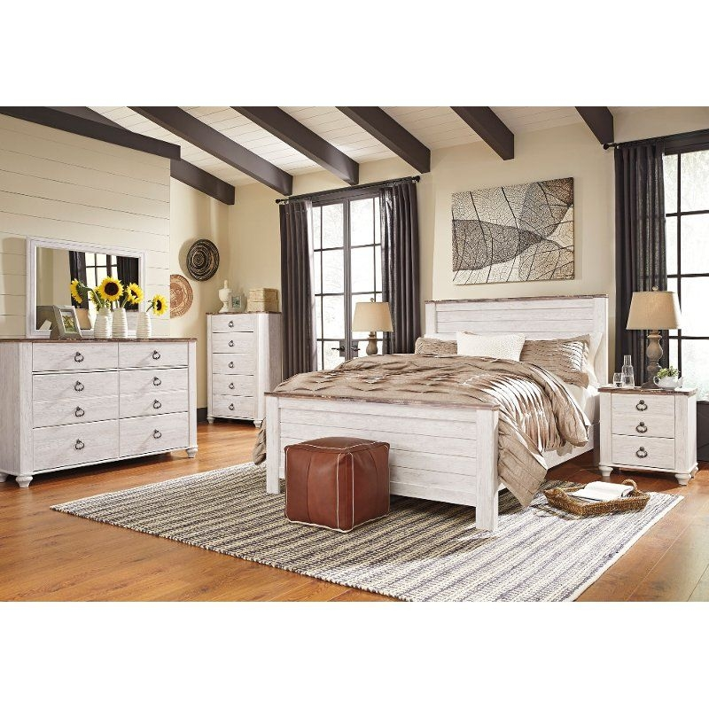 Classic Rustic Whitewashed 6 Piece King Bedroom Set  Millhaven  Rc Willey Furniture Store