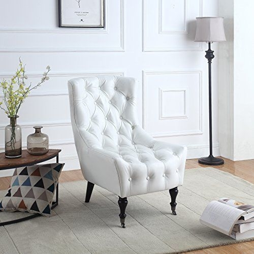 Classic Tufted Faux Leather Shelter Wing Living Room Chair Accent Armchair With Casters White