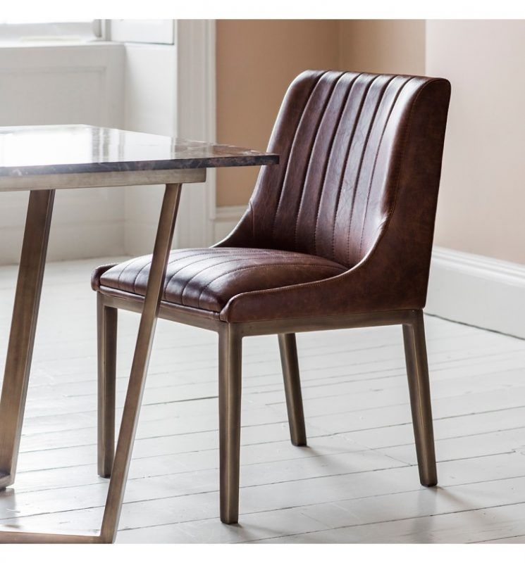 Clayton Dining Chairs Cognac Faux Leather Pair  Fads