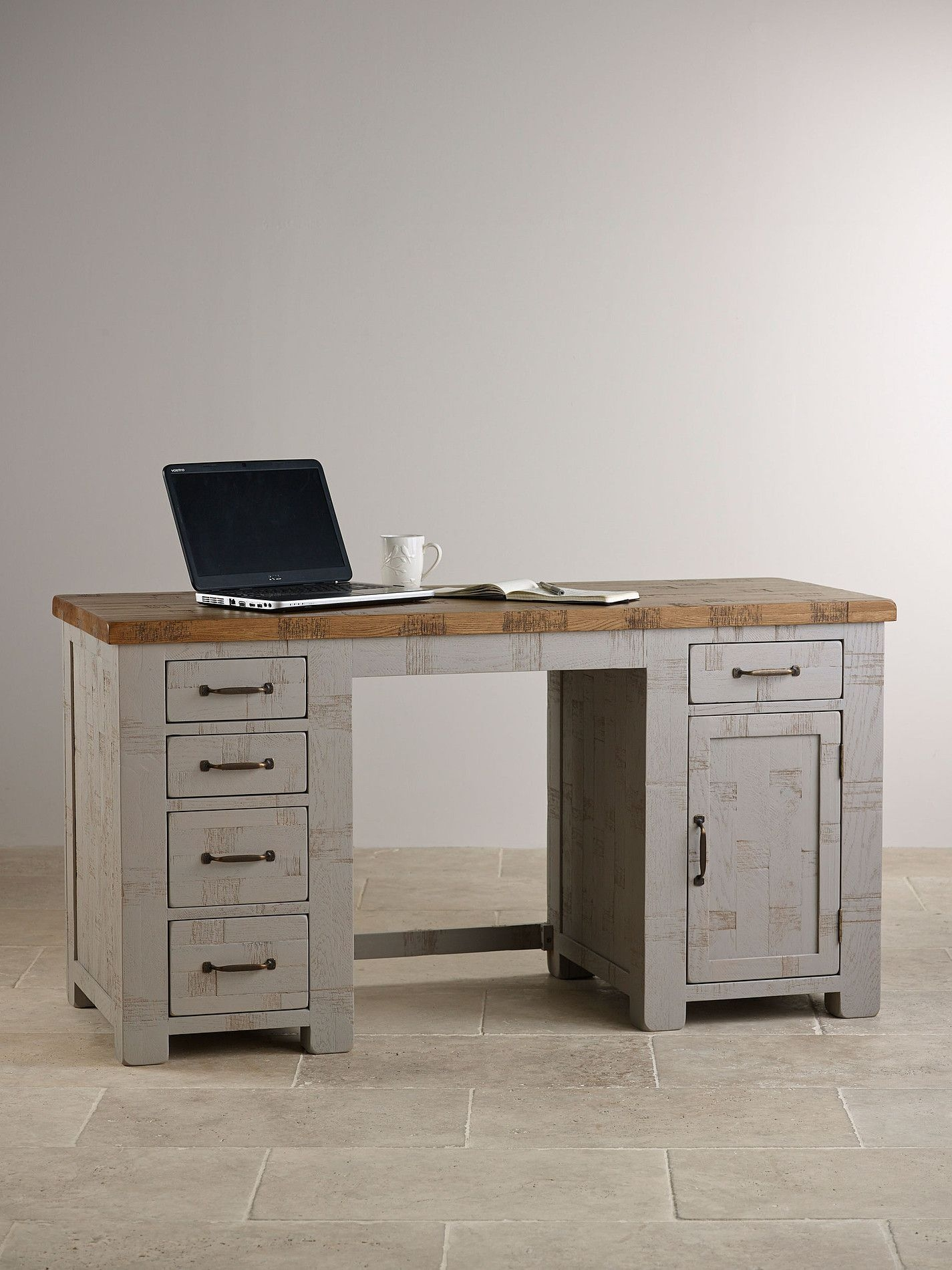 Clermont Painted Rough Sawn Solid Oak Computer Desk  Desk Solid Oak Wood Computer Desk
