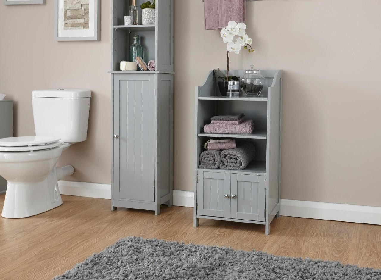 Colonial Grey Bathroom Furniture  2 Door Deluxe Cabinet