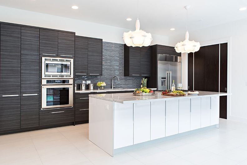 Contemporary Kitchen With Kitchen Island Undermount Sink Rialto High Gloss Foil Cabinets One