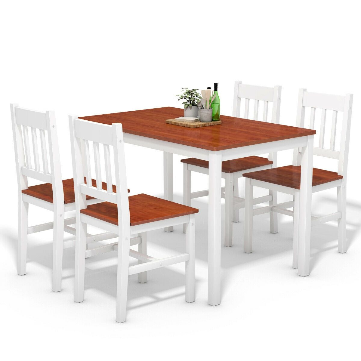 Costway Costway 5Pcs Pine Wood Dinette Dining Set Table And 4 Chairs Home Kitchen Furniture