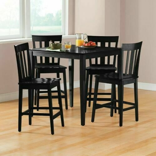 Counter Height Dining Set Table  Chair Sets 5 Piece Kitchen Pub Breakfast Black  Ebay