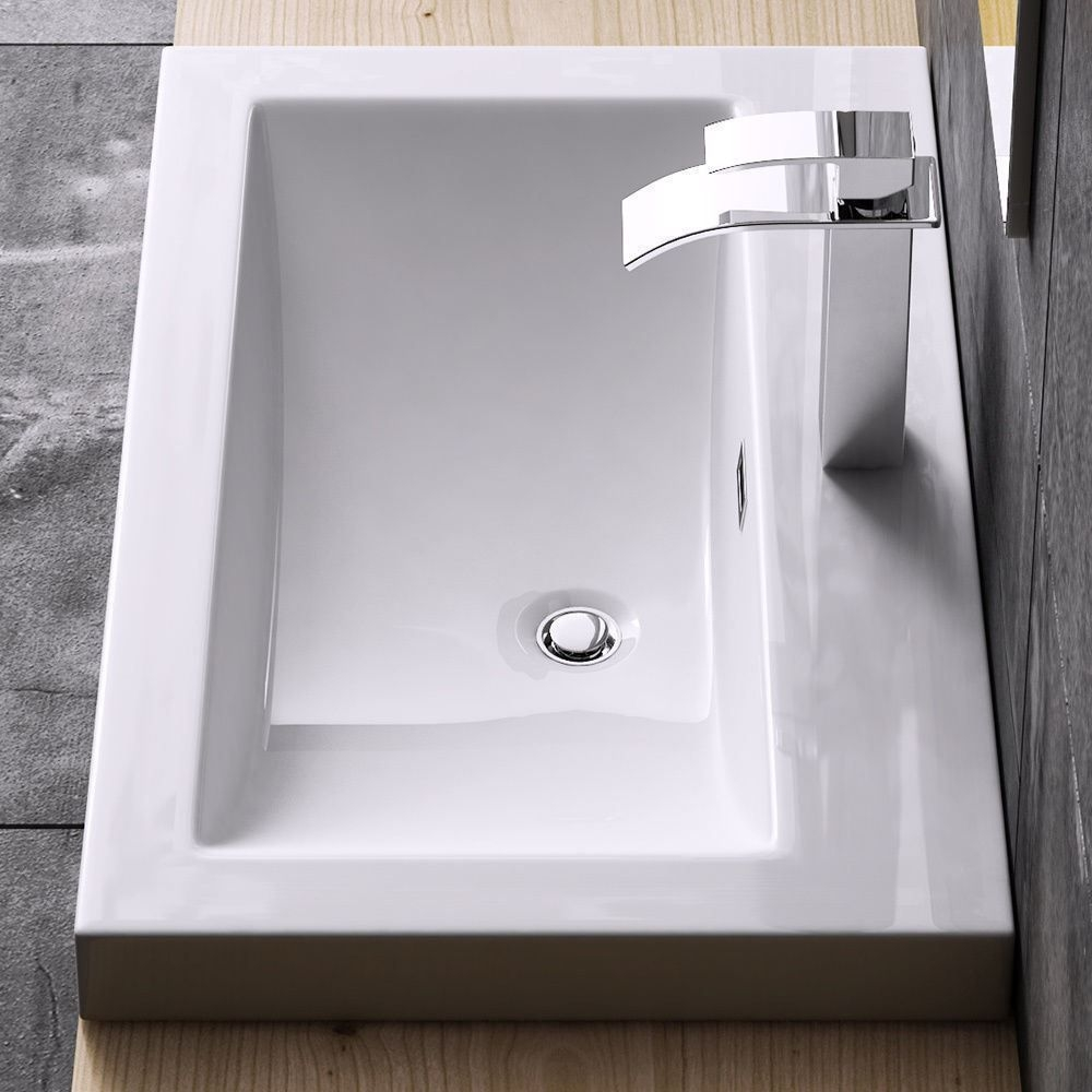 Counter Set Wall Mount Bathroom Wash Basin Range White Stone Resin Or Ceramic  Ebay