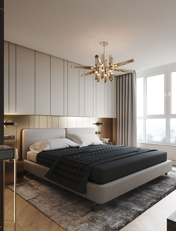 Custom Wall Panels And Brass Detailing  Chic Master Bedroom With Images  Hotel Room Design