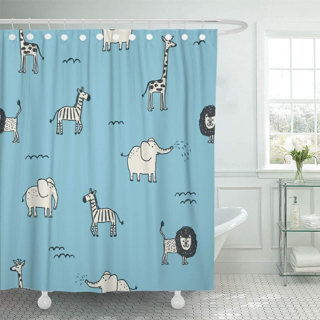 Cynlon Africa Black Lion Cute Blue Abstract Baby Child Bathroom Decor Bath Shower Curtain 66X72