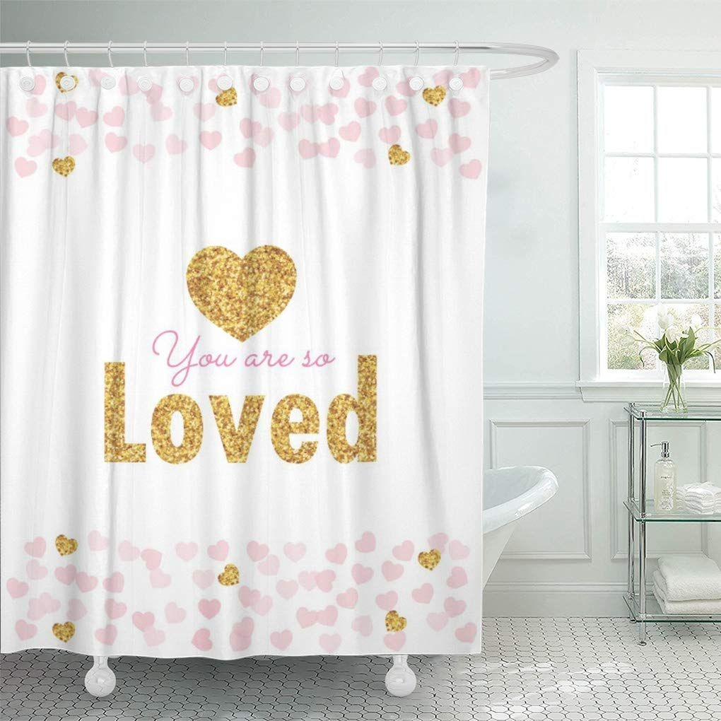 Cynlon Blush Pink Gold Hearts Baby Confetti Girl Sprinkle Bathroom Decor Bath Shower Curtain