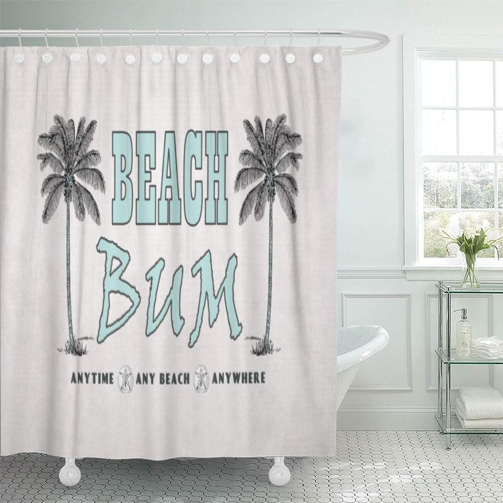 Cynlon Seashore Vintage Palm Trees Beach Bum Shore Sand Dollars Bathroom Decor Bath Shower