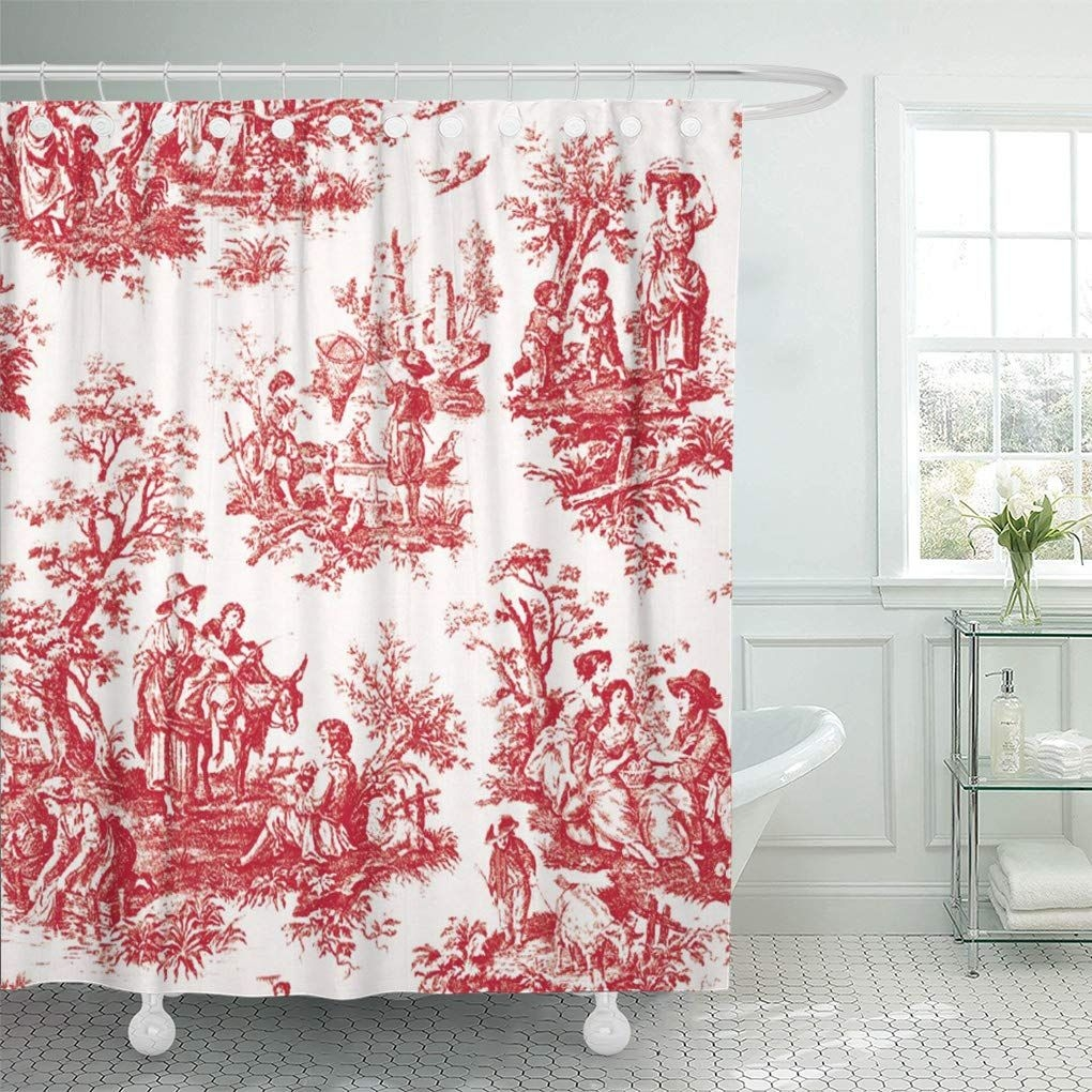 Cynlon Toile Red French Country Vintage Custom Trending Bathroom Decor Bath Shower Curtain 60X72