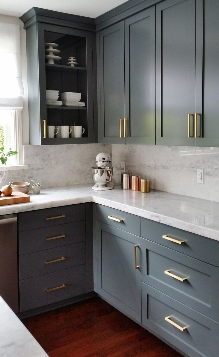 Dark Gray Cabinets And Brass Hardware  Kitchen Cabinet Design Kitchen Renovation Large