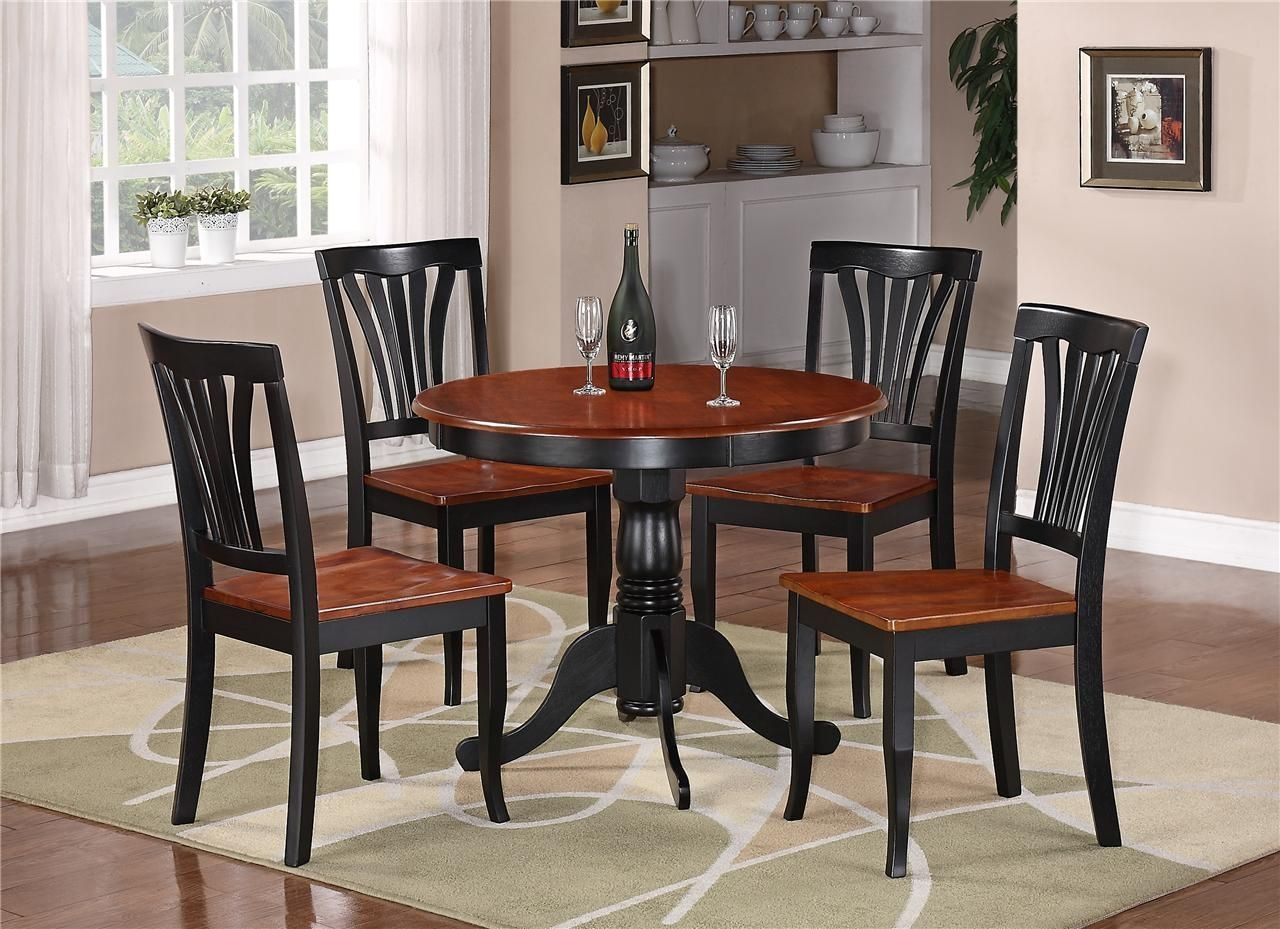 Details About 5Pc Round Table Dinette Kitchen Table  4 Chairs Black  Saddle Brown  Kitchen