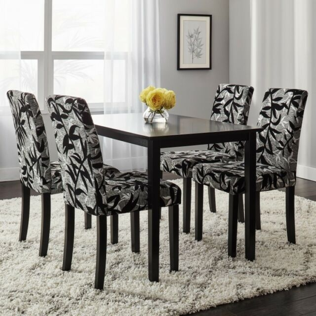 Dining Room Furniture Black 5Pc Dinette Set Modern Wood Table Fabric Chairs  Ebay