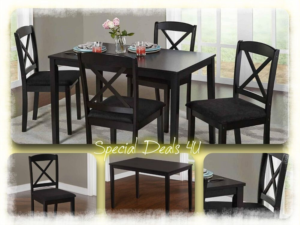 Dining Room Set Table Chairs Modern Kitchen Wood 5 Piece Dinette Black White New  Ebay