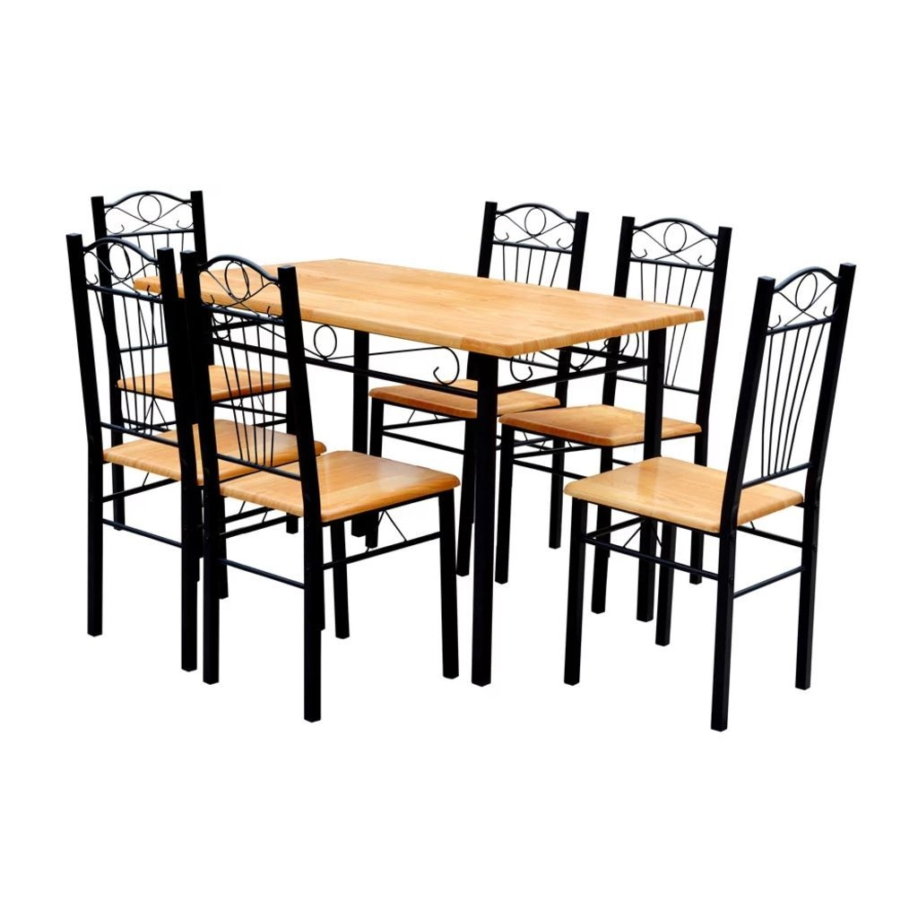 Dining Table And 6 Chairs  Light Wood  Vidaxlcouk