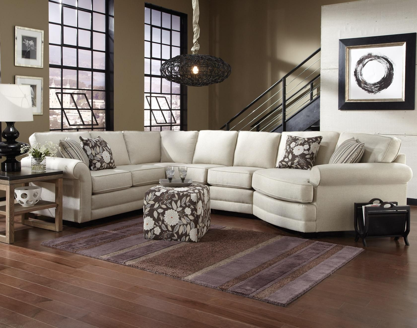 England Brantley 5 Seat Sectional Sofa With Cuddler  Dunk  Bright Furniture  Sectional Sofas