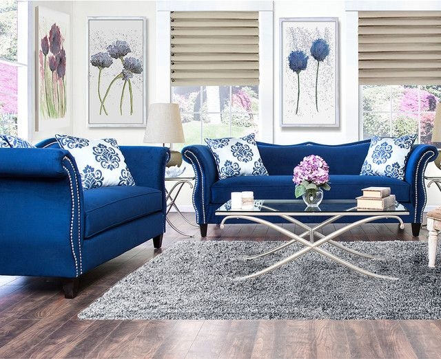 Furniture Of America Othello 2Piece Royal Blue Sofa Set  Contemporary  Living Room Furniture