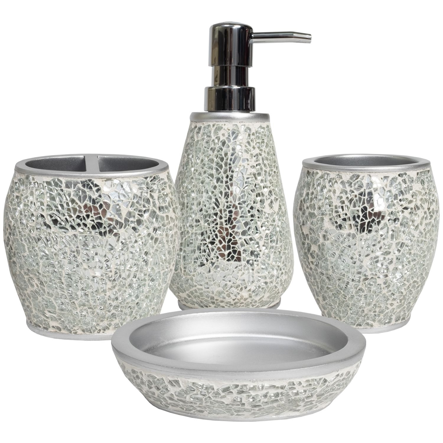Glamour Poly Resin Bath Accessory Collection 4 Piece Bathroom Set  Walmart  Walmart