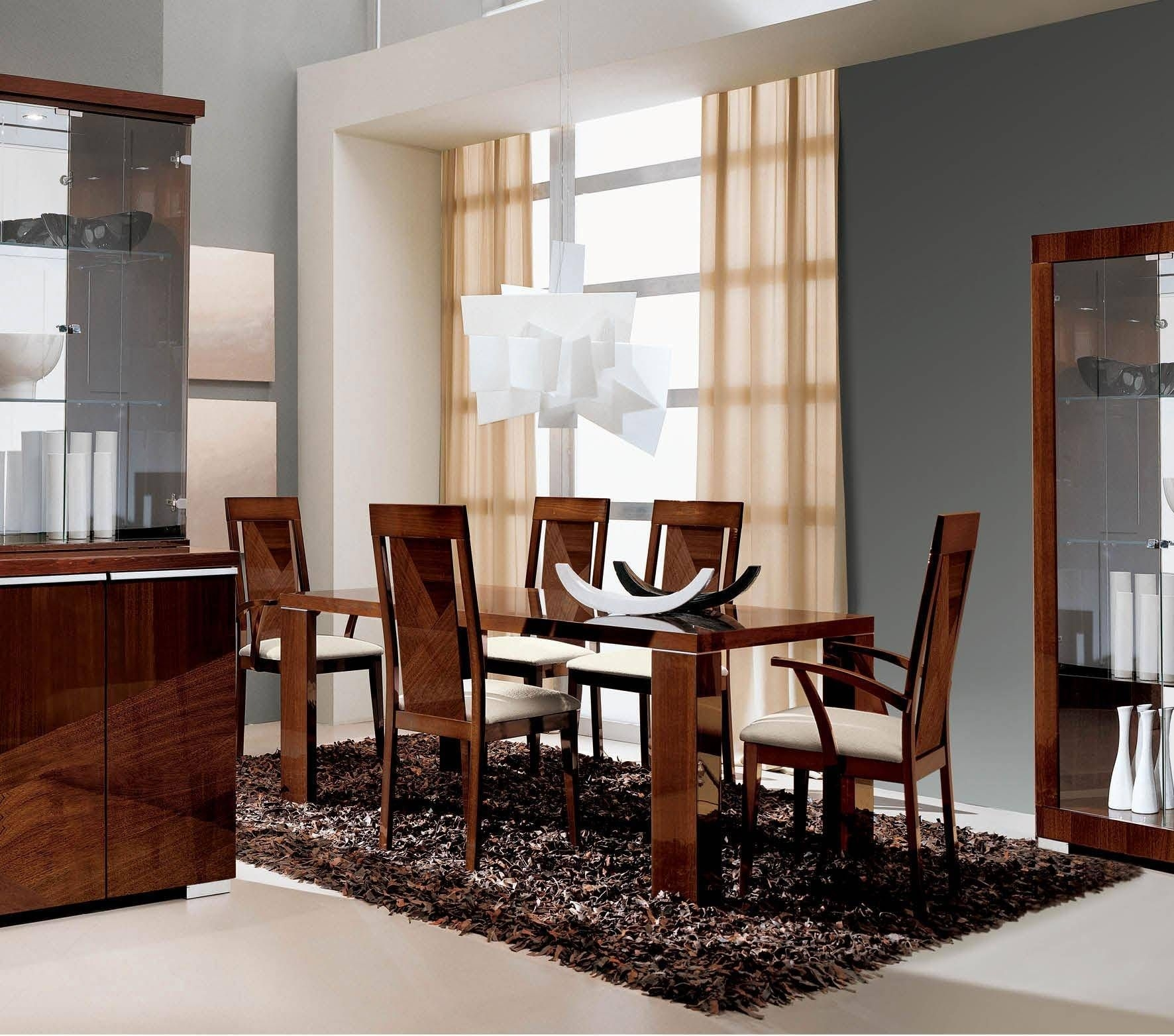 Glossy Dark Walnut Dining Room Set 8 Pcs Modern Made In Italy Esf Alf Capri Esfalf Capriset8