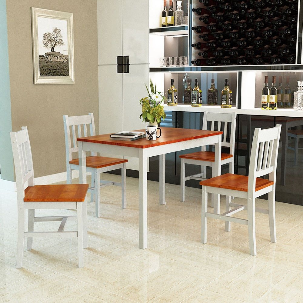 Gymax 5 Piece Dining Table Set 4 Chairs Solid Wood Home Kitchen Breakfast Furniture  Walmart
