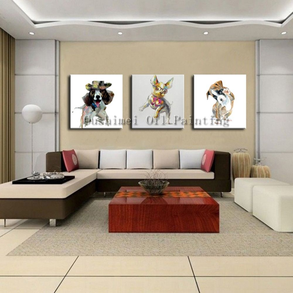 Hand Painted Picture On Canvas Modern Dog Animal Wall Art Painting For Living Room Hang