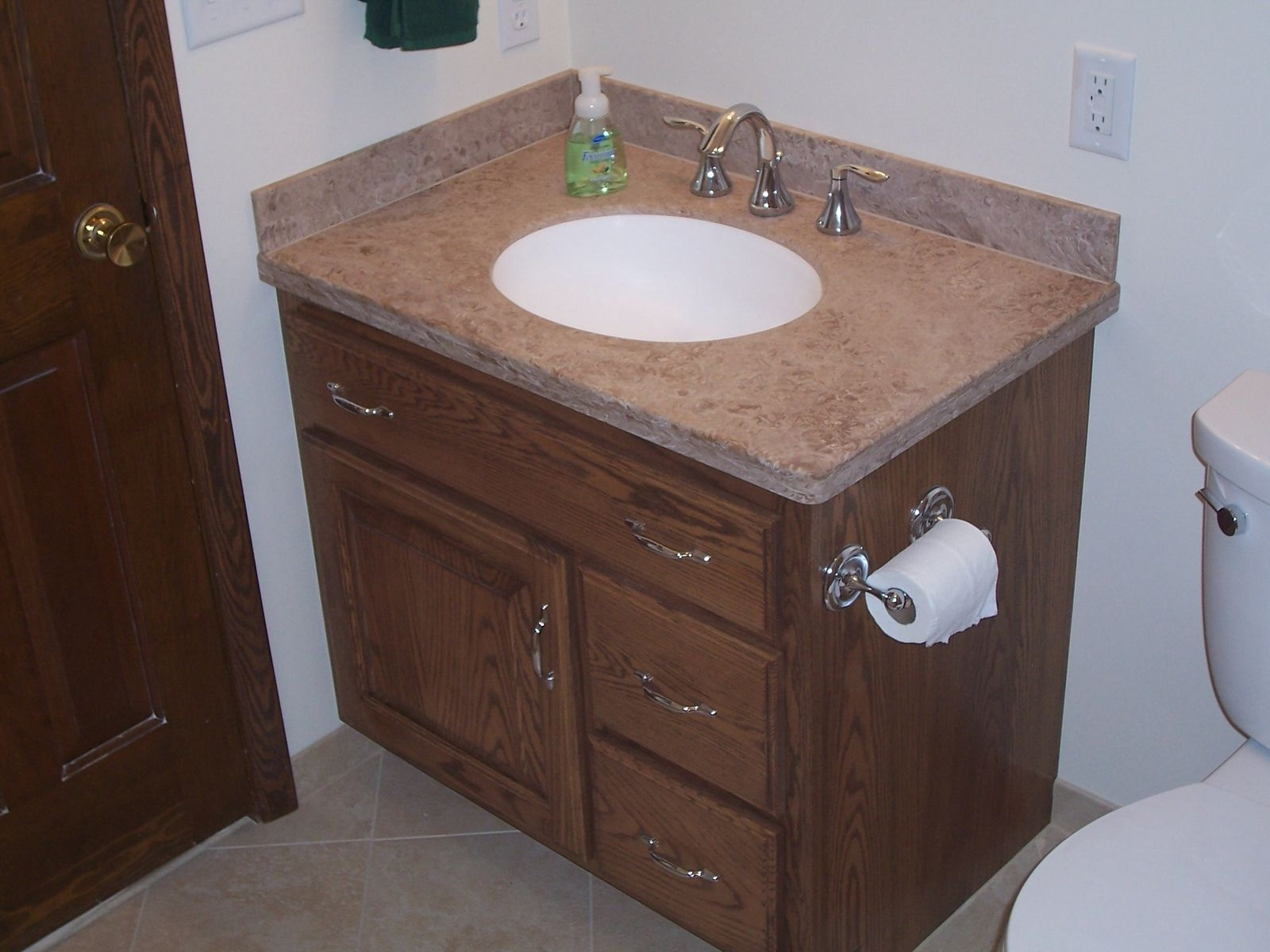 Handmade Custom Oak Bathroom Vanity And Linen Cabinetjeffrey William Construction Inc