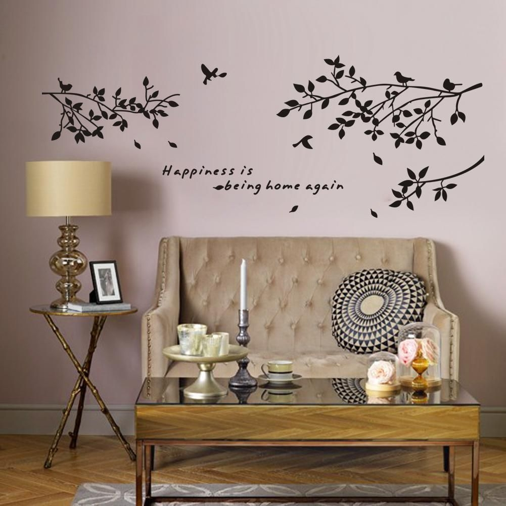 Happiness Is Being Home Againvinyl Quotes Wall Stickers And Black Tree Branch With Birds Art
