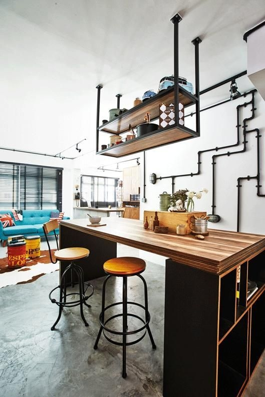 House Tour A Designer'S Rusticindustrial Hdb Home  Industrial Kitchen Design Industrial