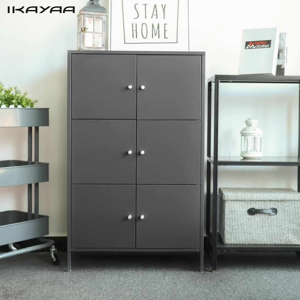 Ikayaa Modern 6 Door Cabinet Metal Storage Cabinets Drawer For Bedroom Bathroom Furniture
