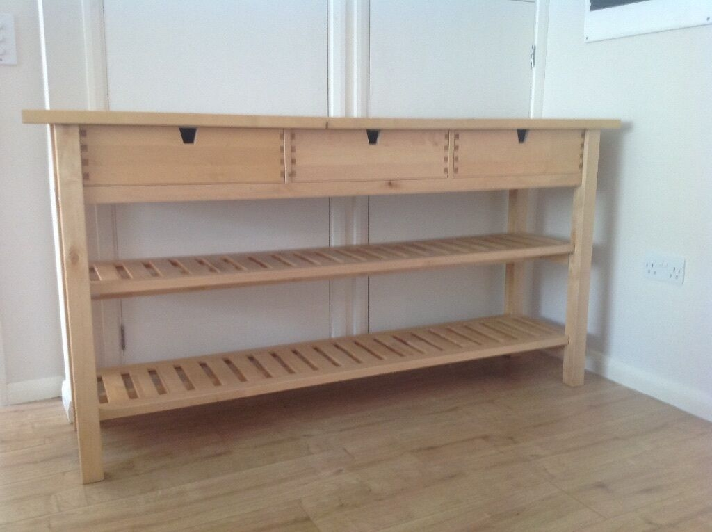 Ikea Kitchen Island Worktop 2 Shelves 3 Drawers Sideboard Table Breakfast Bar Workbench  In