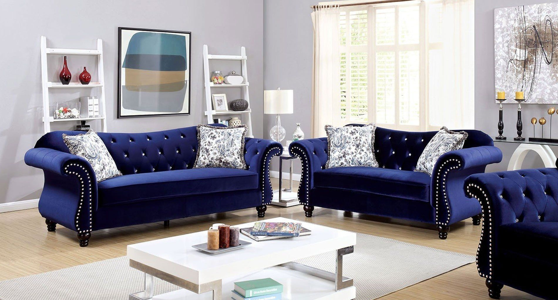 Jolanda Living Room Set Blue  Sofa Loveseat Set Living Room Sofa Living Room Sets