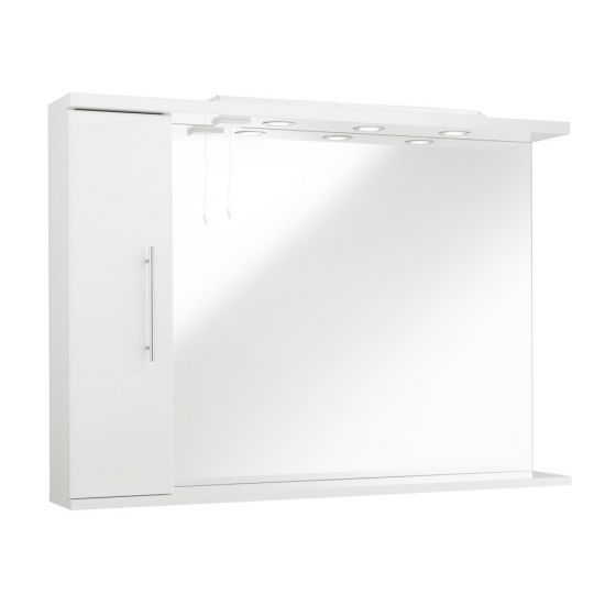 Kartell Impakt 1200Mm White Gloss Mirror With Lh Cabinet