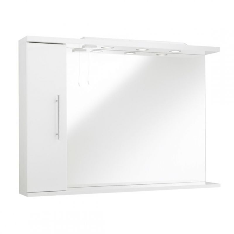 Kartell Kvit Impakt 750Mm Illuminated Mirror Cabinet White Gloss Lh