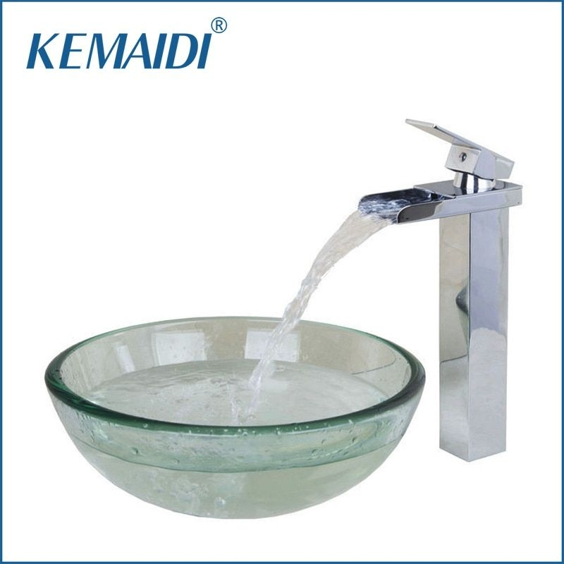 Kemaidi Contemporary Transparent Tempered Glass Round Wash Basin Vessel Sink With Chrome