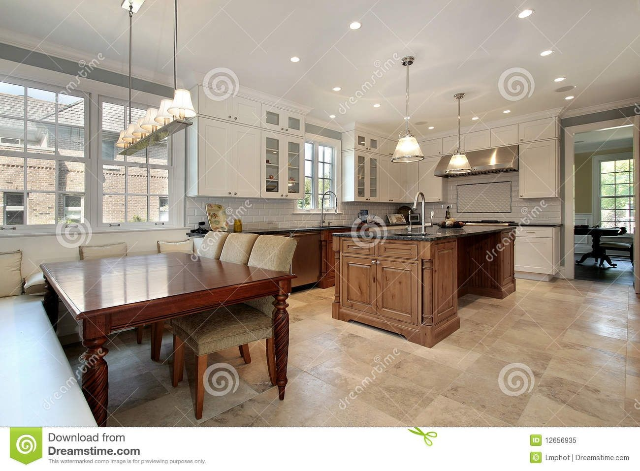 Kitchen With Eating Area And Bench Stock Image  Image Of Decor Granite 12656935
