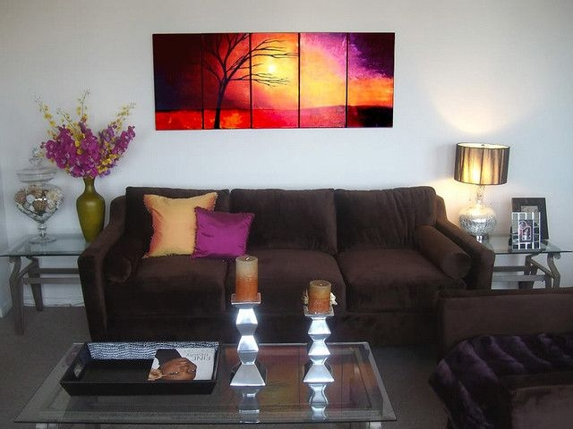 Landscape Abstract Paintings  Contemporary  Living Room  Miami Osnat Fine Art