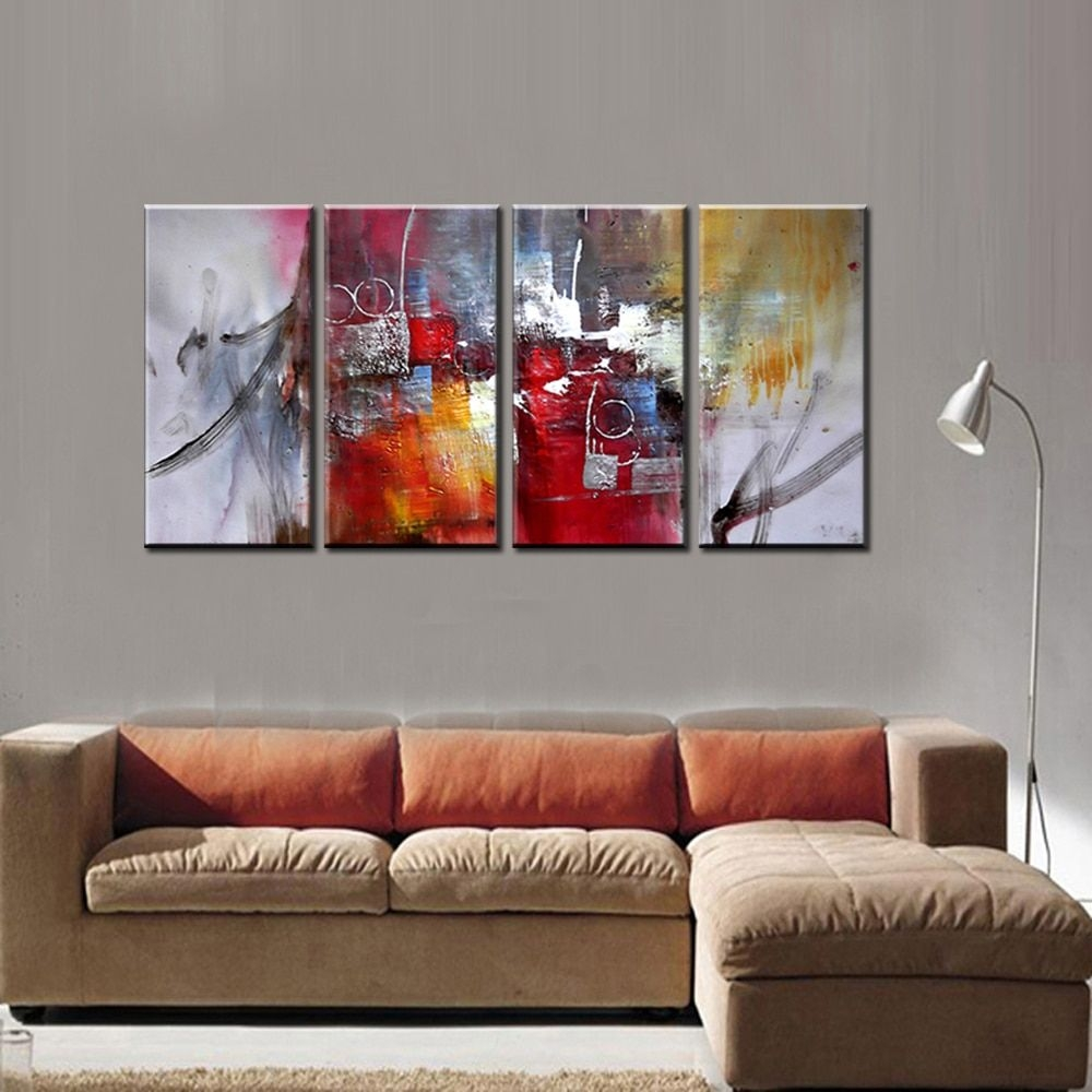 Large 4 Piece Famous Artist Modern Canvas Wall Art Decorative Acrylic Abtract Art Painting Ideas