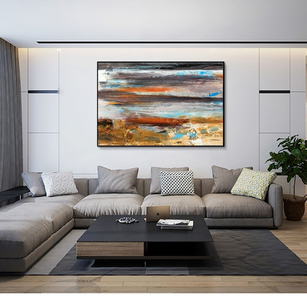 Large Oil Painting On Canvas Abstract Art Modern Yellow Level Acrylic Painting Canvas Art Living