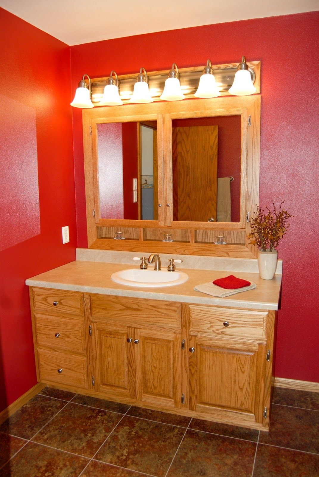 Lg Custom Woodworking Custom Made Oak Bathroom Vanity And Built In Medicine Cabinet