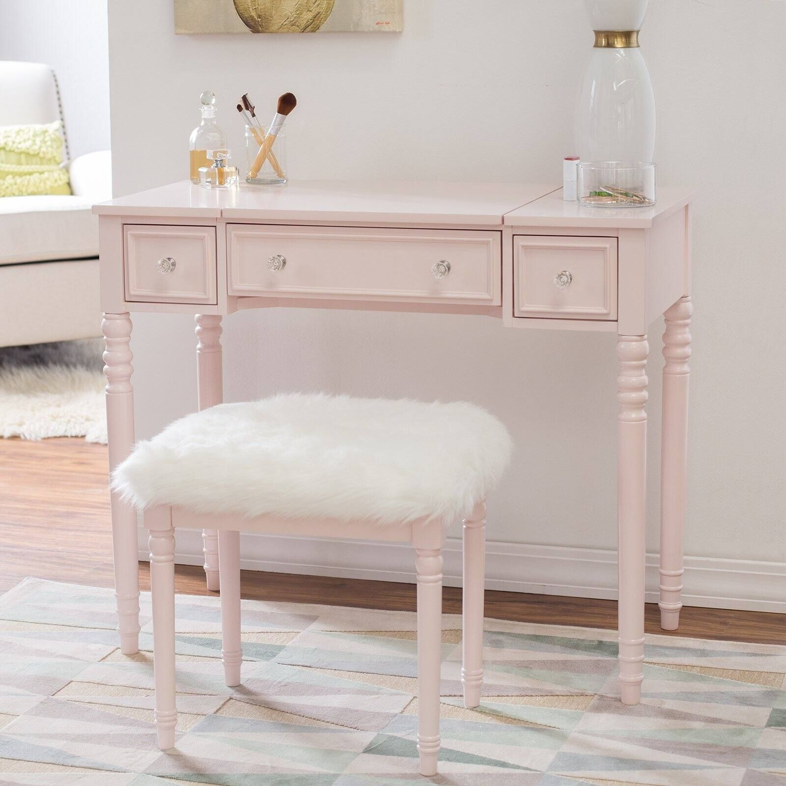 Linon Biltmore Vanity Set  Blush  Bedroom Vanities At Hayneedle