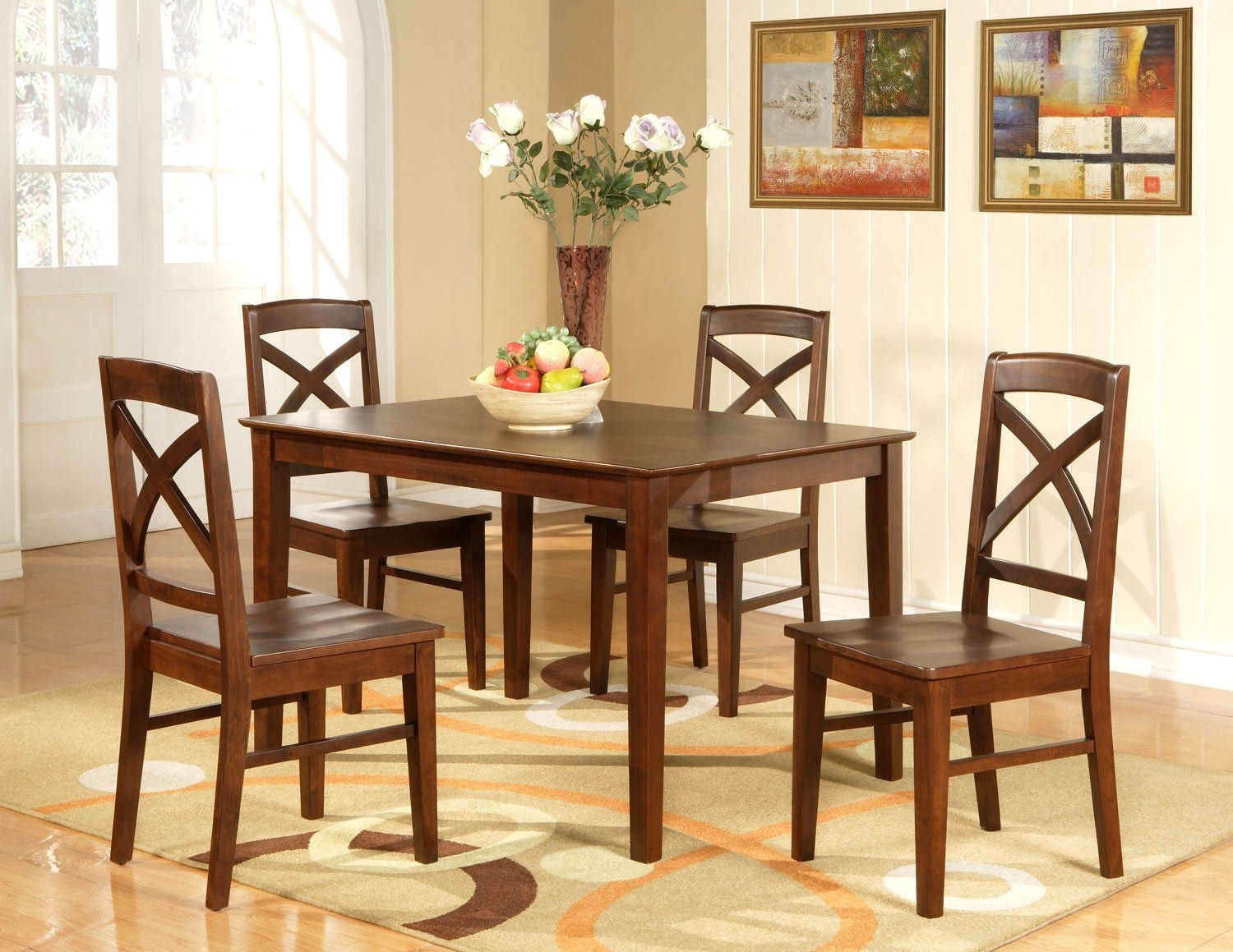 "Lisbon 5Pc Rectangular Dinette Kitchen Table Setsize 36""X 48"" In Espresso Sku Lb5Esp"