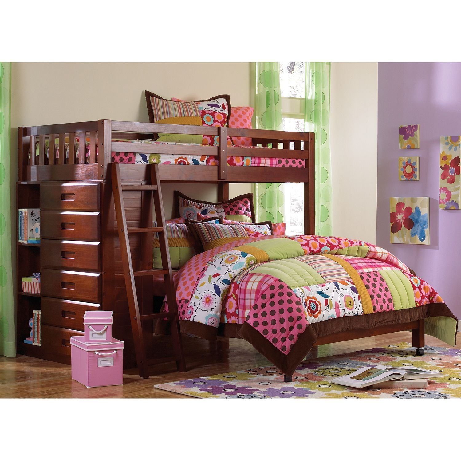Loft Bed Twin Over Full With Five Drawer Chest Merlot  Sam'S Club  Loft Bunk Beds Bunk Beds