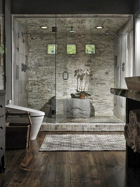 Love This Large Stone Shower Bench  20 Cool Showers For Contemporary Homes  Contemporary