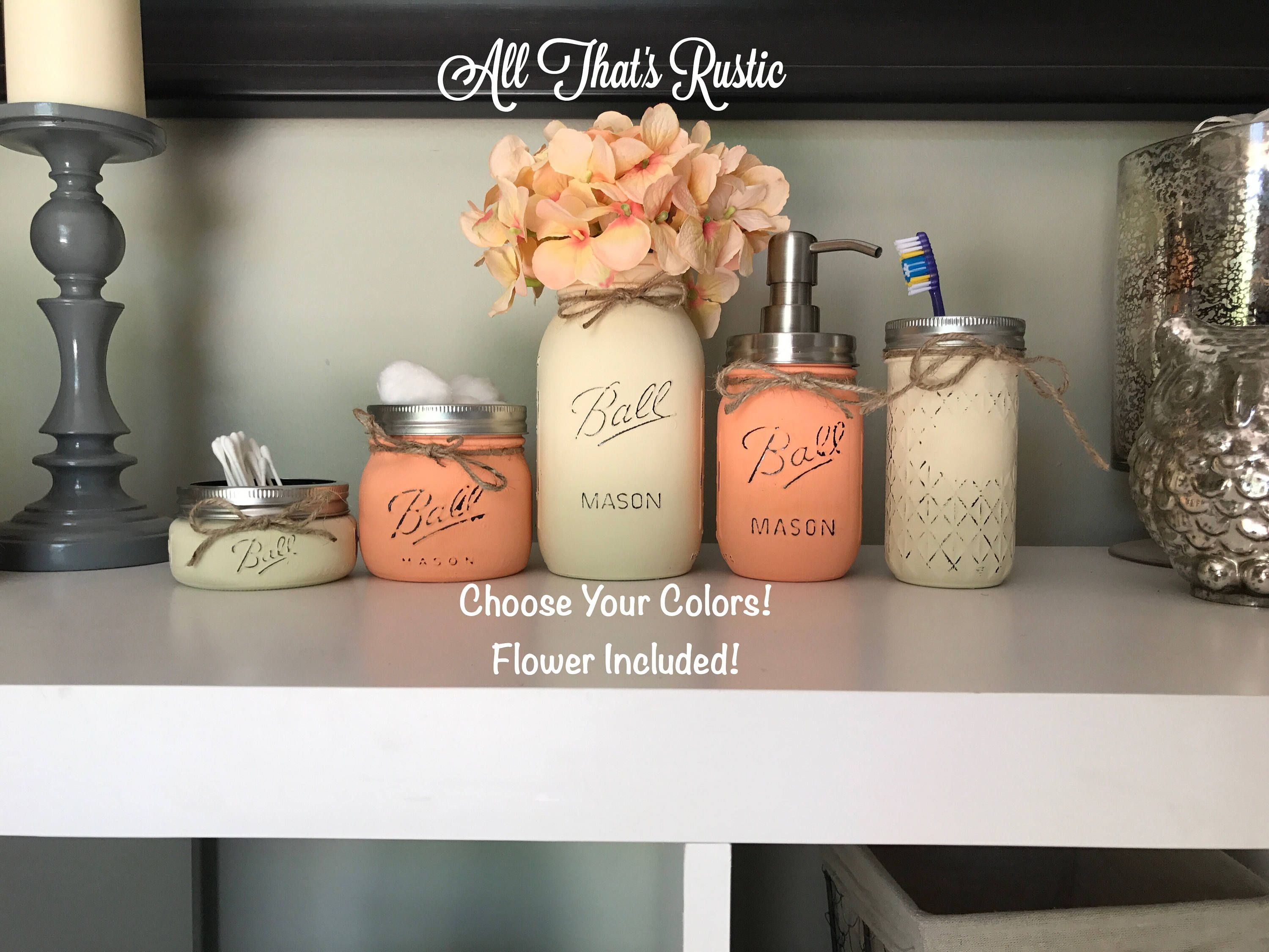 Mason Jar Bathroom Decor Mason Jar Bathroom Set Mason Jar