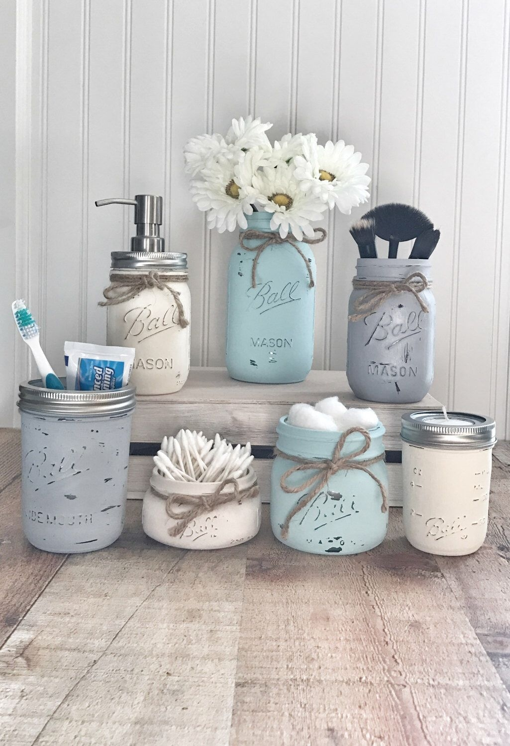 Mason Jar Bathroom Set Mason Jar Bathroom Organizer Painted Mason Jars Farmhouse Decor