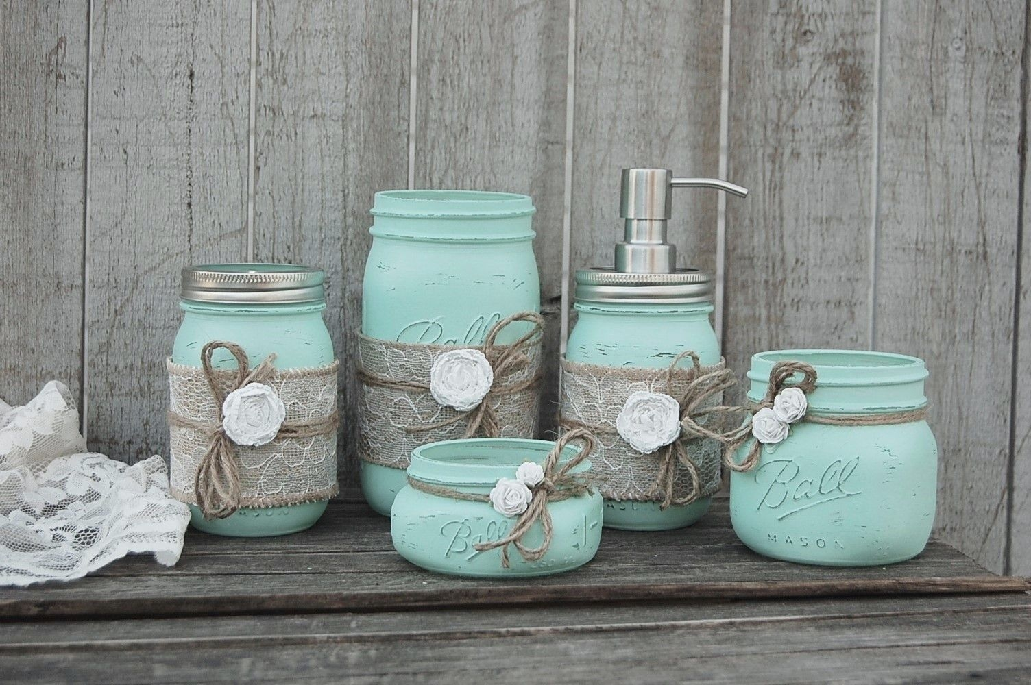 Mint Green Bathroom Set  Mason Jar Bathroom Bathroom Sets Mint Green Bathrooms